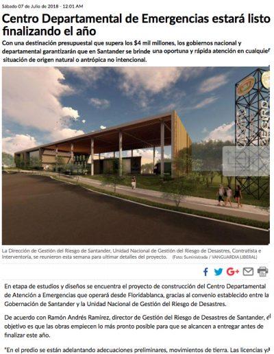 Centro departamental de Emergencias estará listo al finalizar el año