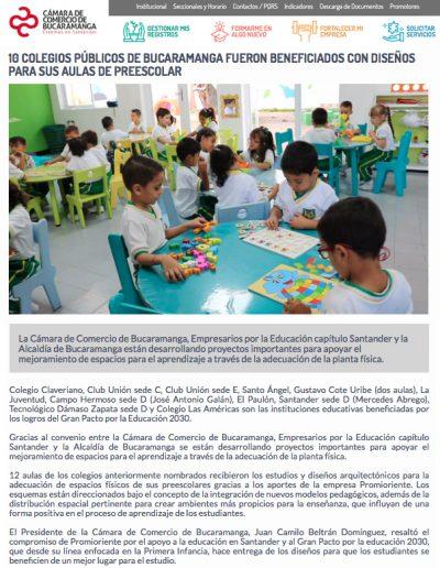 Colegios públicos en Bucaramanga fueron Beneficiados con diseños para sus aulas de preescolar